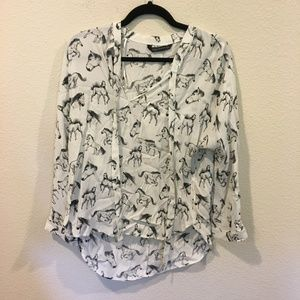 Zara white and black horse blouse